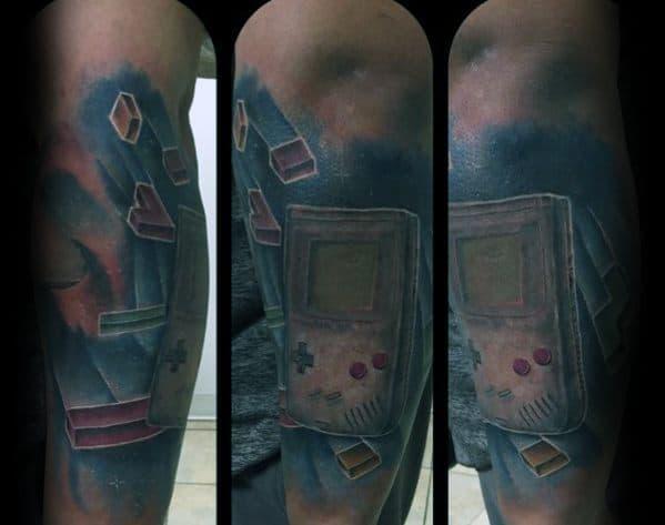 Mens Tetris Tattoo Design Inspiration