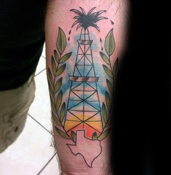 Mens Texas Oilfield Inner Forearm Tattoos