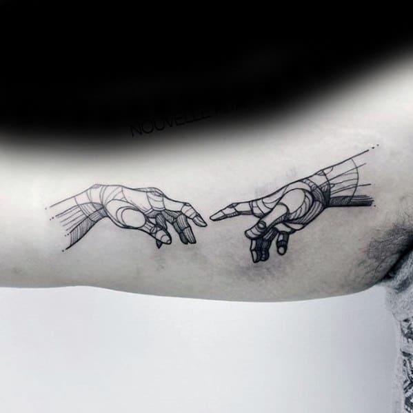 Mens The Creation Of Adam Tattoo Design Ideas Inner Arm