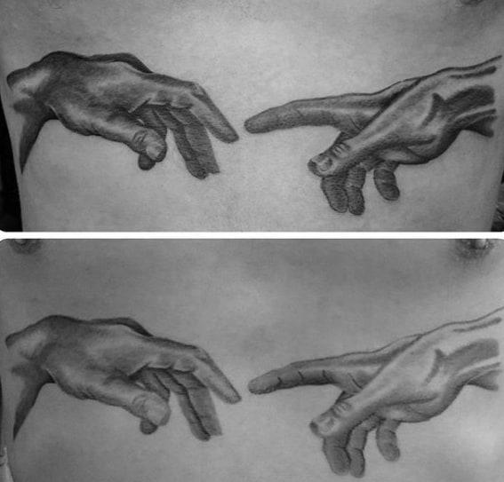 Mens The Creation Of Adam Tattoo Design Inspiration Chest