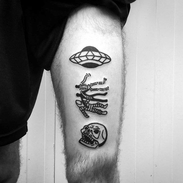 Mens Thigh Abduction Alien Space Ship With Skull Simple Tattoo