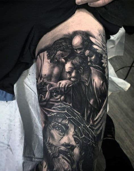 Mens Thigh And Leg Jesus Sleeve Tattoo Ideas