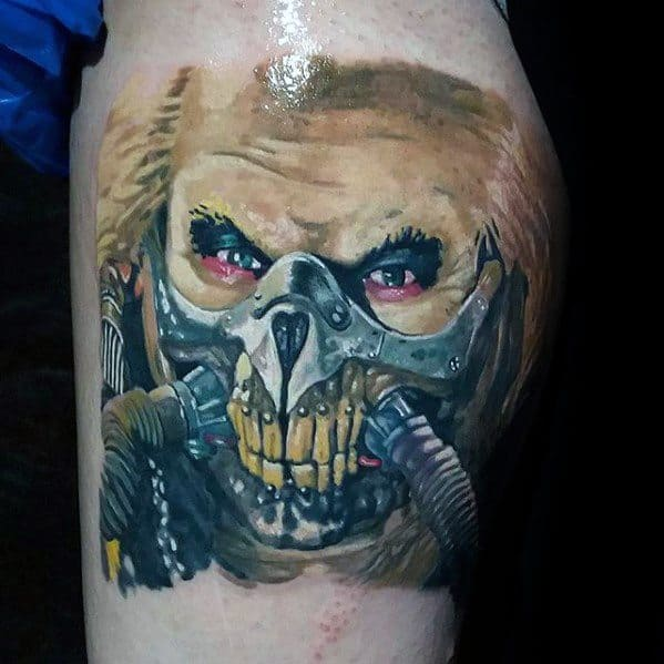 Mens Thigh Cool Mad Max Tattoo Ideas