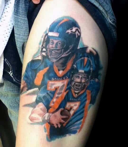 Mens Thigh Denver Broncos Players Tattoo