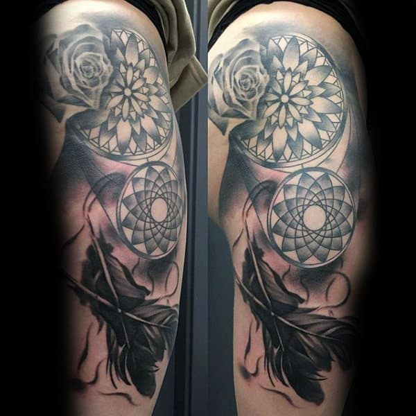 Mens Thigh Dreamcatcher Leg Tattoo With Rose