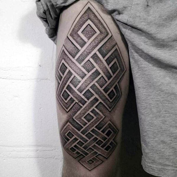 Mens Thigh Endless Knot Tattoo With Dotwork Design