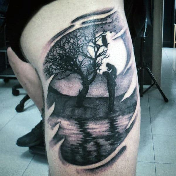 Mens Thigh Father Son Tattoo In Back Ink