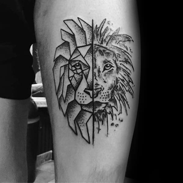 Mens Thigh Geometric Lion Tattoo Design Inspiration