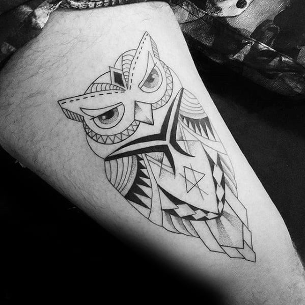 80 Geometric Owl Tatto...