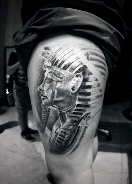 Mens Thigh King Tut Tattoos