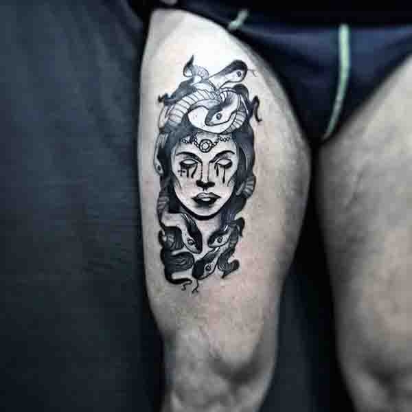 Mens Thigh Old School Medusa Tattoo Design Ideas