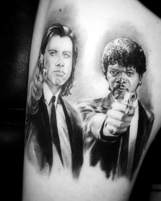 Mens Thigh Pulp Fiction Vincent And Jules Tattoo Design Ideas