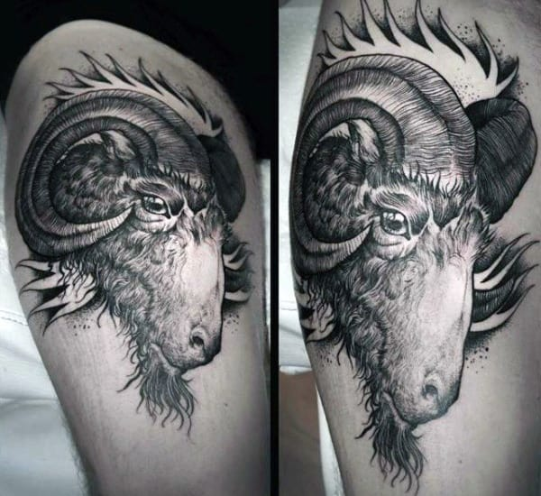 Mens Thigh Ram Tattoo Design Ideas
