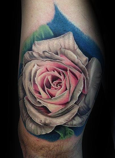Mens Thigh Realistic Pink And White Rose Tattoos