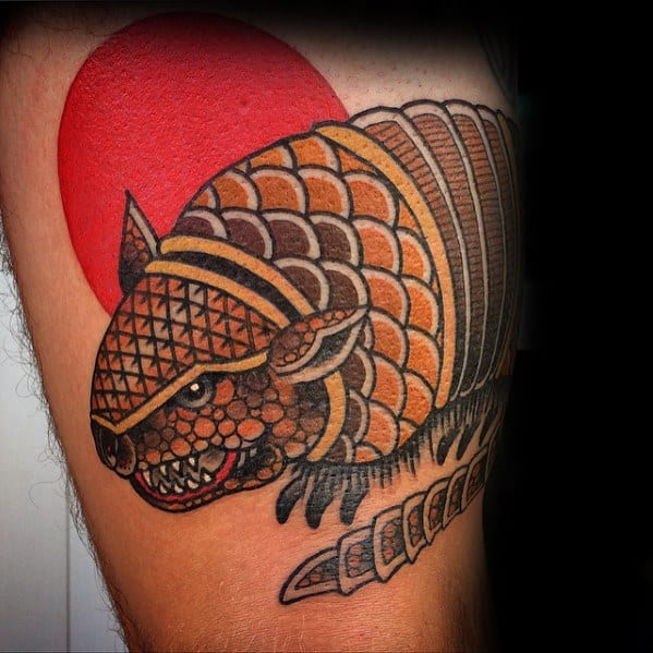 Mens Thigh Tattoo Armadillo Red Sun Design