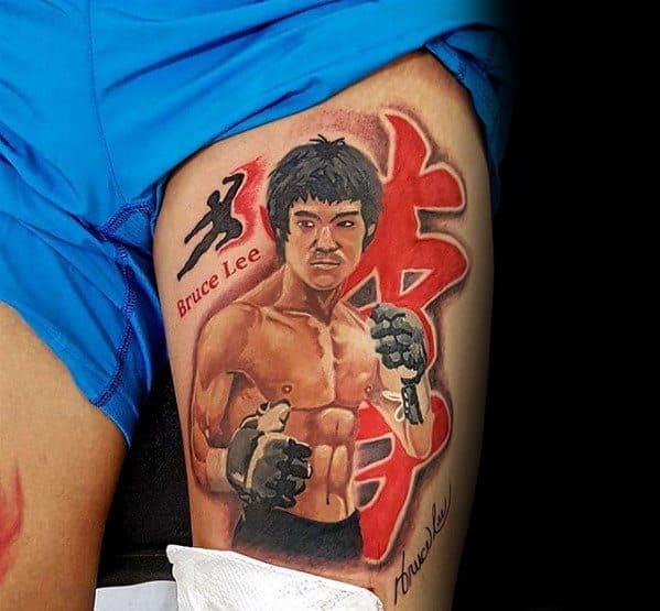 Mens Thigh Tattoo Bruce Lee Design