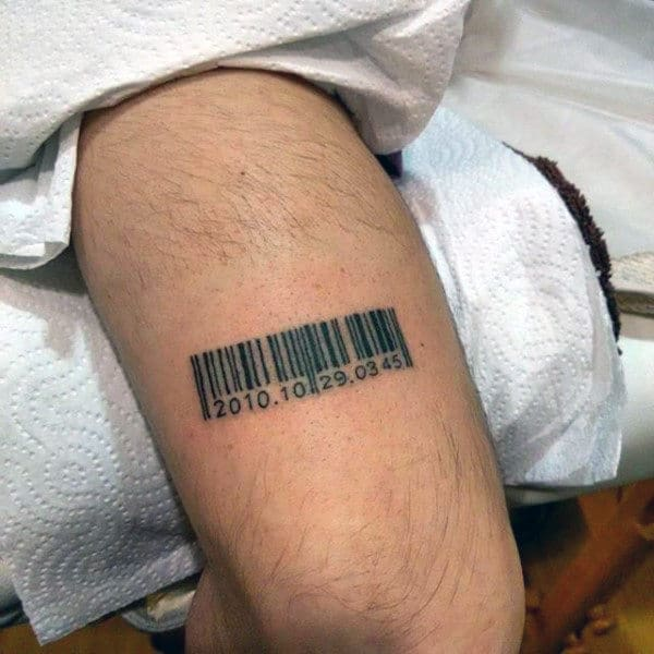Mens Thigh Tattoo Of Classic Barcode