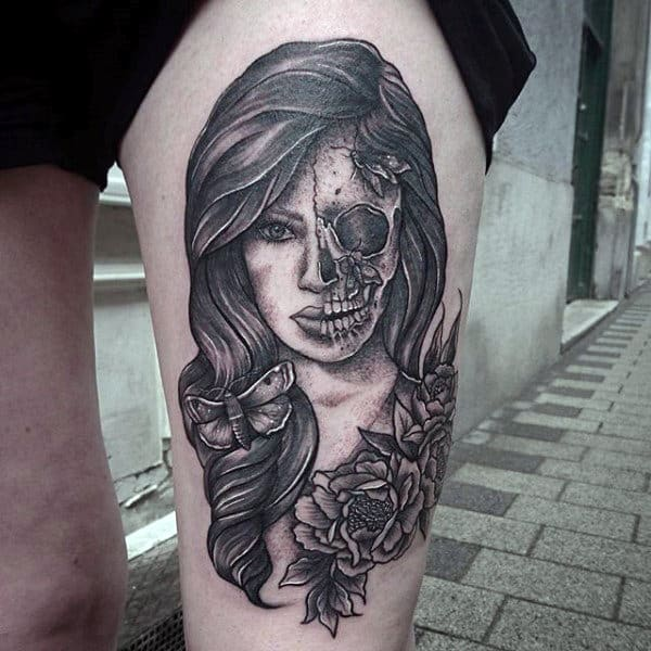 Mens Thigh Tattoo Of Female Portrait And Moth