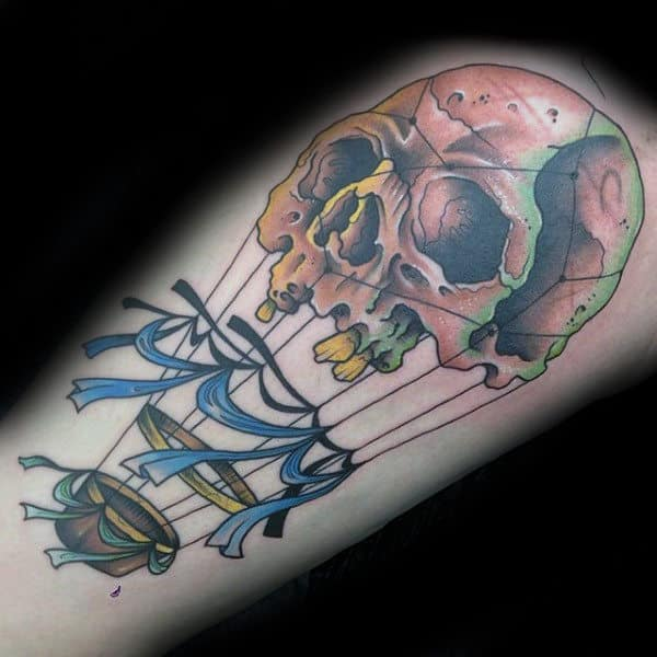 Mens Thigh Tattoo Of Hot Air Balloon With Skull