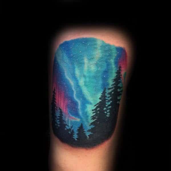 Mens Thigh Tattoo Of Northern Lights