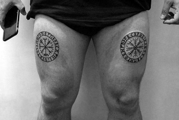 Mens Thigh Tattoos Of Viking Compass