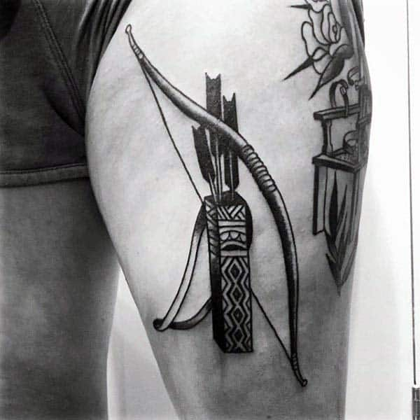 Mens Thigh Upper Leg Bow And Arrows Archery Tattoos