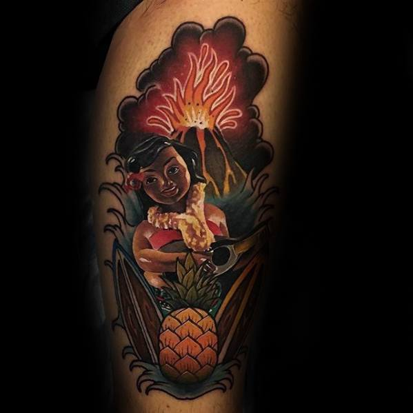 Mens Thigh Volcano Tropical Pineapple Tattoo Ideas