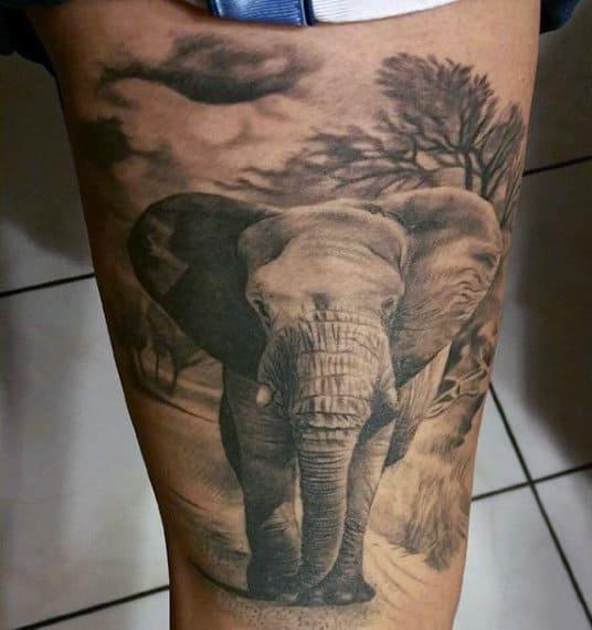 Mens Thighs Baby Elephant Tattoo