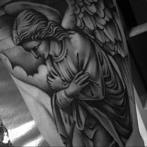 Mens Thighs Guardian Angel Meditating Tattoo