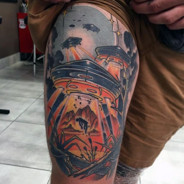 Mens Thighs Orange Lighted Spacecrafts Tattoos