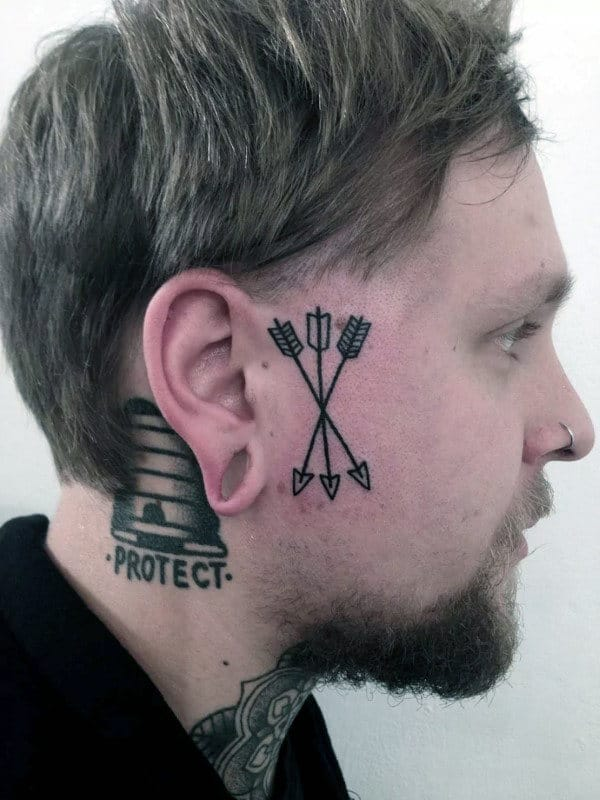 8f2cb94a1 Mens Three Arrows Black Ink Face Tattoo Inspiration