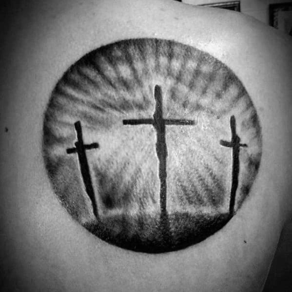 Mens Three Crosses Simple Christian Circle Shoulder Tattoo