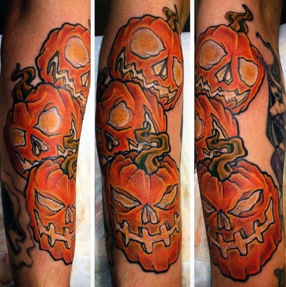 Mens Three Pumpkin Tattoo Design On Forearm