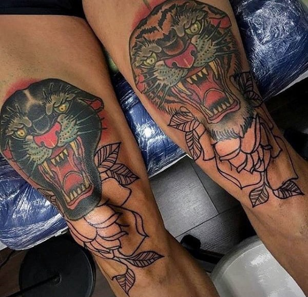 Mens Tiger And Black Panther Knee Tattoos