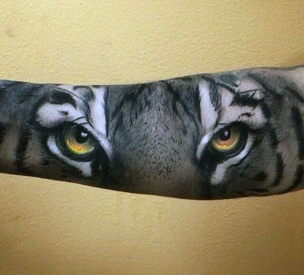 Mens Tiger Eyes Forearm 3d Tattoo Design Inspiration