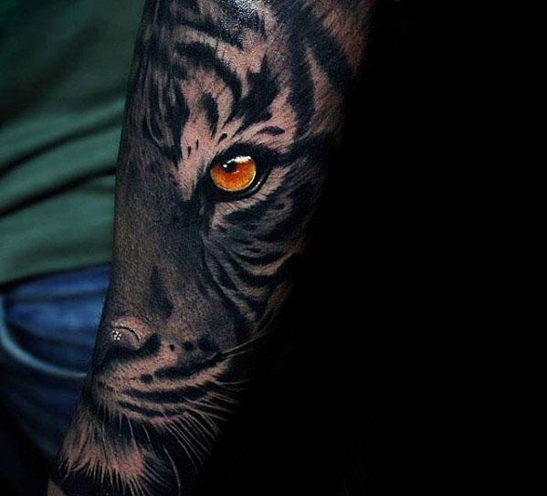 Mens Tiger Eyes Tattoo 3d Forearm Design Ideas