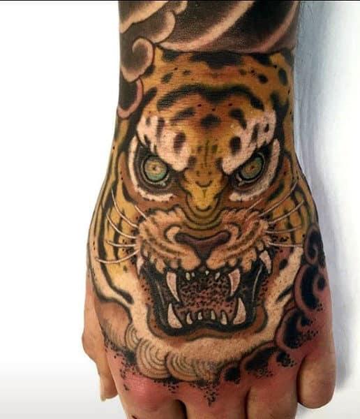 Men's Tiger Face Tattoo On Hands