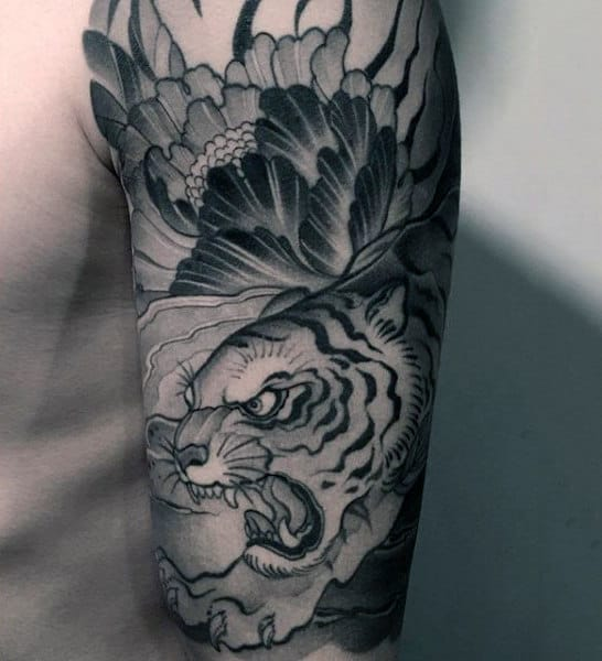 Mens Tiger Half Sleeve Animal Tattoo Design Ideas