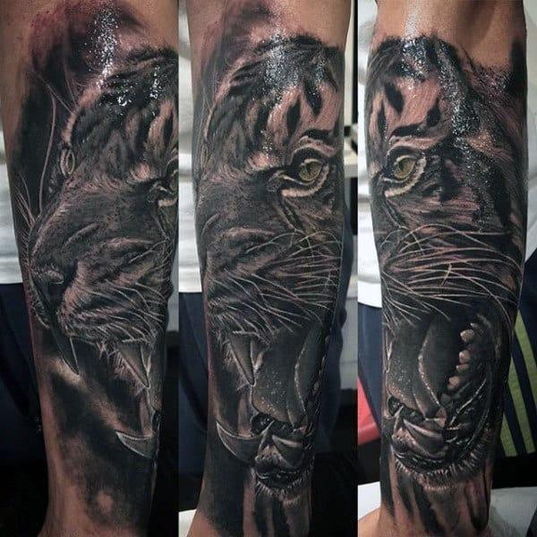 Men's Tiger Head Tattoo