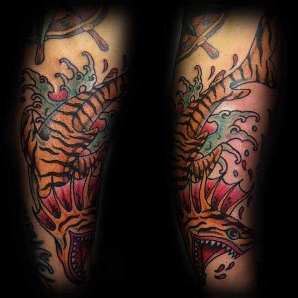 Mens Tiger Shark Tattoo Design Inspiration
