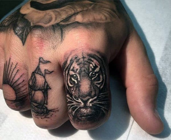 Men's Tiger Stripe Tattoo On Fingers