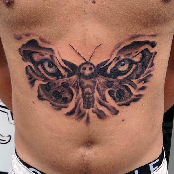 Mens Tigher Eyes Moth Stomach Tattoo
