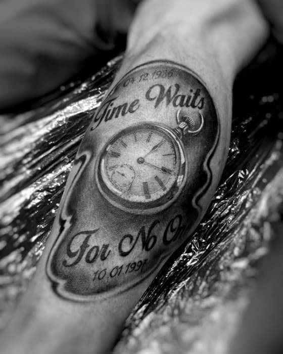 40 Time Waits For No Man Tattoo Designs For Men – Quote ...