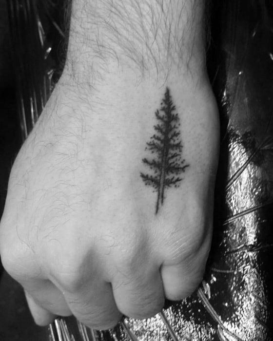 Mens Tiny Small Pine Tree Hand Tattoo