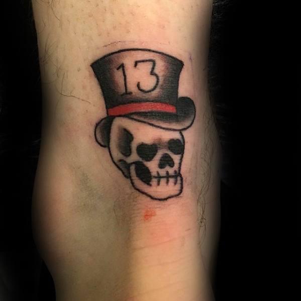 Mens Top Hat 13 Skull Lower Leg Tattoo Ideas