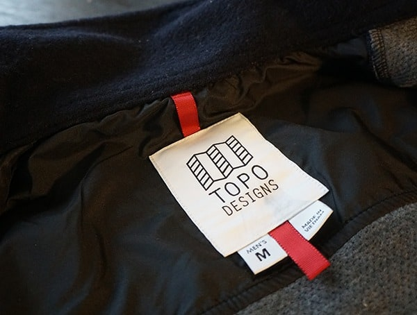 Mens Topo Designs Wool Shirt Inner Tag