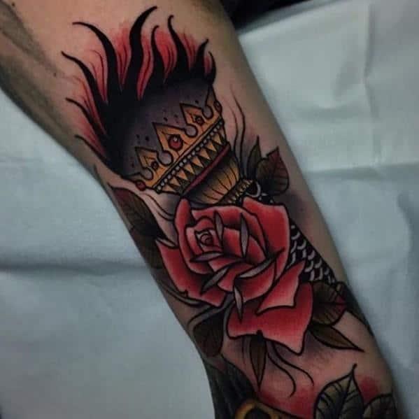 Mens Torch Tattoo Design Inspiration