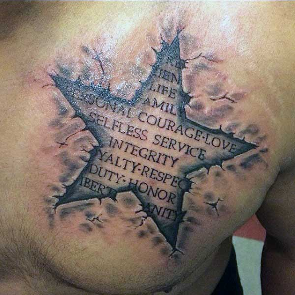 50 Chest Quote Tattoo Designs For Men: 50 Ripped Skin Tattoo Designs For Men