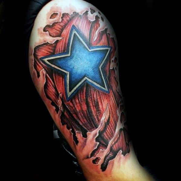 Mens Torn Skin Muscle 3d Star Tattoo Ideas On Arm