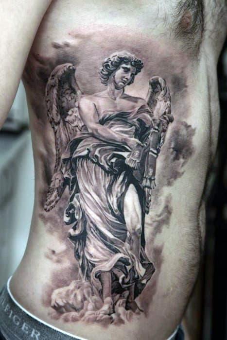 Mens Torso Amazing Guardian Angel Tattoo